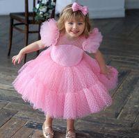 Girl's Pageant Abiti Abiti da ballo Abiti da ballo rosa Festa di compleanno Bambini Abbigliamento formale Abbigliamento Flower Girls per matrimonio Guest Dimensione 4 6 8 10 Ginocchiale