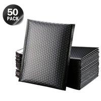50 adet Beyaz Posta Çanta Kabarcık Zarf Kendinden Mühür Siyah Folyo Baloncuklar Mailer Hediye Paketleme Çizgili Poli Postacılar Düğün Çantası Posta Zarflar