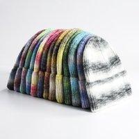 2021 Women's Winter Hats Rainbow Striped Ski Hat Unisex Warm Knitted Men Hat Beanies Fashion Hip Hop Skullies for Men Women