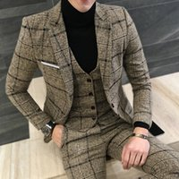 Fashion Plaid Formal Business Suit Jacket Mens Blazer   Groom Wedding Dress Dinner Party Men Plaid Blazer