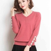 Women's Sweaters Female Shintime-sweater with buttons and v-neck, long sleeve blouse fine for autumn , women's clothes fall GOH0