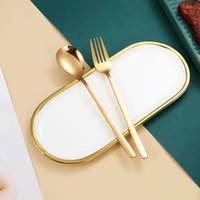 Portable Tableware Set Cutlery Case 2-Piece Including Spoon Fork Case Stainless Steel Flatware