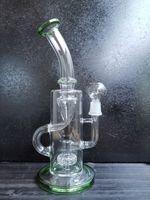 9.5 인치 높이의 Klein DAB 조작 물 담뱃대 재활용 봉수 파이프 녹색과 명확한 남성 조인트 크기 14.4mm