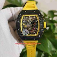KV 공장 완벽한 버전 시계 50mm x 44mm RM 011 RM011 뼈대 NTPT 탄소 섬유 투명 기계 자동 망 시계 남자 손목 시계
