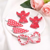 Love Heart Pendant Hollow Pu Leather Newest Dangle Earrings For Women Valentine's Day Gift Wholesale Valentine Earring