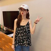 Zaraes 2021 Women Floral Designer Chiffon All-Match Kawaii Tanks Y2K Loose Leisure Fashion Chic Sleeveless Tops Female Women's T-Shirt