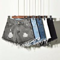 Talla grande S 6XL Shorts Mujer Jean High Cintura Pantalones Fringe White Hotpants Negro Verano Vintage Denim Recto