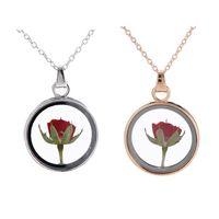 Mode Rose Blume Anhänger Halskette Glas Runde Dekorative Anhänger Für immer Rose Halskette Romantisches Valentinstag Geschenk GWA4666