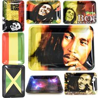 프리미엄 연기 금속 롤링 트레이 Bob Marley 180 * 125mm 담배 롤 트레이 핸드 롤러 흡연 액세서리 담배 둔기 조인트 도구