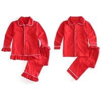 100% cotton 2 pieces button up girls boys sleepwear pyjamas sibling kids children solid red christmas pajamas set 210915