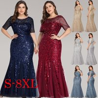 Cross border trade between Europe and the United States large Sequin mesh fishtail banquet host Bridesmaid Evening Dress