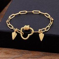 Nidin Hohe Qualität Hiphop Kupfer Kette Armband Für Frauen Männer Vintage Handmade Hase Herz Form Armbänder Geburtstagsgeschenk Charme