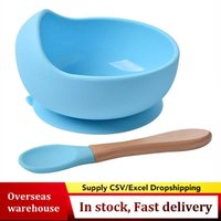 Bowls Baby Silicone Feeding Set Wooden Spoon Suction Bowl Plate Kids Toddler Assist Tableware BPA Free High Quality