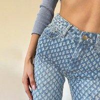 Хлопок высокая талия прямые повседневные джинсы женские узоры стирают проблемную уличную одежду весна и осенью леди широкие джинсовые штаны