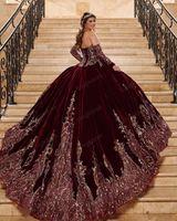 Burgsty 2021 Ballkleid Quinceanera Kleider Brautkleider Schatz Langarm Sweet 15 16 Kleid Vestidos de XV Años Anos