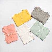 FábricaN4B1High cor sólida crianças e camisa camiseta calças cintura 2 peças conjunto de algodão unisex compras on-line manga longa match paja