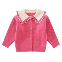 Pullover Girls Sweater 2021 Autumn Girls' Doll Neck Cardigan