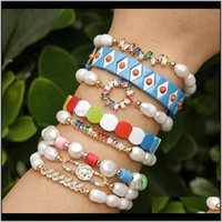 Beaded, Strands Bracelets Drop Delivery 2021 Natural Freshwater Pearl Gold Color Zircon Connector Charm Cross Virgin Crown Shape Bracelet For