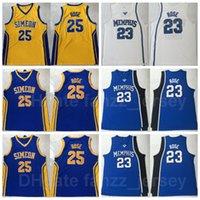 NCAA Kaplanlar Koleji Basketbol 23 Derrick Gül Jersey Erkek Üniversitesi Simeon Kariyer Akademisi Liseli Ekibi Mor Mavi Sarı Beyaz Renk Dikişli Nefes