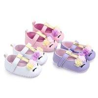 طفل رضيع الفتيات زهرة يونيكورن أحذية بو الجلود الأحذية لينة وحيد أحذية سرير ربيع الخريف أول مشوا