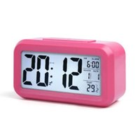 스마트 센서 야간광 디지털 알람 시계 온도 온도계 캘린더, 자동 책상 테이블 시계 침대 옆 여긴 ZZE5747