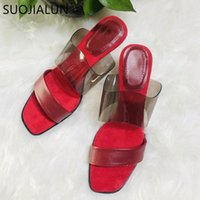 SUOJIALUN 2020 Summer Thin High Heels Women Slipper PVC Transparent Slides Ladies Sexy Red Dress Slides Shoes Flip Flop K7fB#