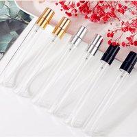 100pcs lot 10ml Thin Glass Perfume Spray Bottle Travel Empty Parfum Atomizer Transparet Glass Sample Vials With Aluminium Pump