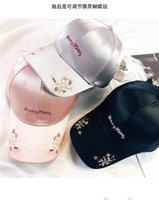 2021 cappello womens tutto match rosa ricamo flower berretto da baseball studente bow tie cravatta con cappucci in primavera e estate mens cappelli ombrellini all'ingrosso