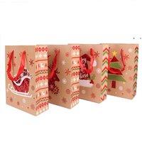 Envoltório Saco de Natal Papelão Branco Sacos de Papel Hand-Hand de Retorno Presentes De Retorno Embalagem Red Exquisite Elk Snowflake Dots Wedding OWF9965