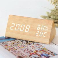 Desk & Table Clocks LED Wooden Alarm Clock Electronic Voice Control Digital Temperature Humidity Display Wood Desktop