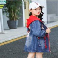 Nueva moda de chicas con capucha con capucha con capucha de manga larga abrigo, chaqueta de mezclilla de niños grandes