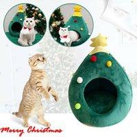 고양이 침대 가구 크리스마스 트리 하우스 슬리핑 가방 긴 봉제 슈퍼 소프트 애완 동물 침대 강아지 쿠션 매트 용품 겨울 따뜻한