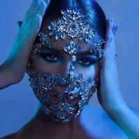 Dropship Wedding Designer Bling Crinshone Полный для лица Женщины Мода Кристалл Карнавальная Вечеринка Роскошная Маска Ювелирные Изделия