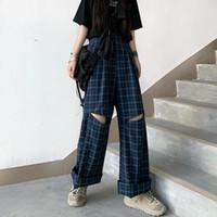 Женские брюки CAPRIS Houzhou плед Harajuku старинные корейские моды широкие ноги дыры брюки женские свободные выдолбления прямые повседневные капли