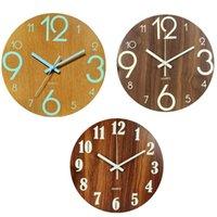 Wall Clocks Digital Number Clock 3D Silent Glow Dark Acrylic Luminous Hanging Brief Quiet