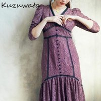 Kuzuwata Япония Стиль платье Женщины Сексуальные Сплошные кружева Лоскутная Кнопка Платья 2021 Весенние Vestidos Largos de Verano Para Mujer Повседневная