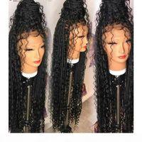 Новый Natural 13x4 кружева лобовая богиня коробки косички парики вьющиеся стиль свободно части синтетики швейцарские кружевные фронтские парики для черных женщин