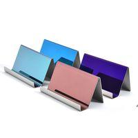 4 ألوان الراقية الفولاذ المقاوم للصدأ اسم بطاقة الأعمال حامل عرض موقف رف سطح المكتب الجدول المنظم AHF6223