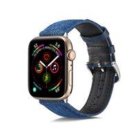 Blue Denim Stoffband für Apple Watch SE 6 5 4 40mm 44mm Band Leder Armband für iwatch 3 2 1 38mm 42mm Schnallenzarmband