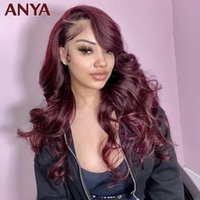 Lace Wigs Anya Wig 99J Color 13X4 Front Pre Plucked Body Wave Human Hair Transparent Peruvian Remy 30Inch For Women