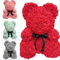 US STOCK 38cm Bear Teddy Bear Artificial Flower Décoration Rose Bear Wedding Saint Valentin Day Cadeaux Pour Femmes Accueil Décoration 641 R2