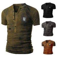 4 colori T-shirt da uomo con scollo a V allentato retrò uniforme militare tee casual o-collo manica corta taglia