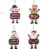 Weihnachtsschmuck Papierbrett Tür Fenster Hängen Anhänger Willkommen frohe Weihnachten Bretter Weihnachten Decortaions Santa Claus Schneemann RRE9492