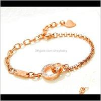 Bracelets Bracelets Drop Livraison 2021 Mode Gold Rose Double Bague Boucle Cristal Tempéramament Bracelet de luxe Designer Bijoux Dame PS0218 CSN