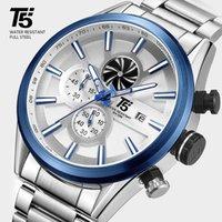 손목 시계 T5 로즈 골드 남성 석영 스포츠 망 손목 시계 남자 크로노 그래프 방수 시계 손목 시계