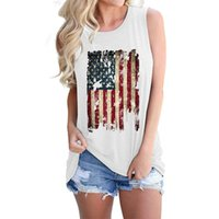 Women's T-shirts 2021 Independence Day Sleeveless Vogue Tops Tee Shirt Stars Striped Print Summer Female T shirts