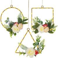 Dekoratif Çiçekler Çelenk 3 Çiçek Çelenk Çelenk, Yapay Şakayık Çiçek Okaliptüs Çelenk Işıkları, Wending Parti / Oturma Odası için