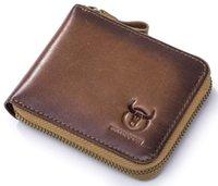 Мужская кожаная молния кошельки RFID экранирование двойной складки дизайнер Multi Credit Card