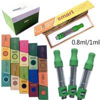 스마트 카트 빈 vape 펜 카트리지 Atomizers 0.8 ml 1ml 세라믹 유리 두꺼운 오일 카트리지 Dab 왁스 기화기 510 나사 스크류 포장