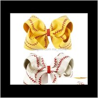 7Inch 8Inch Large Softball Team Baseball Cheer Bows Knot Hairbands Handmade Ribbon And Leather Bow For Cheerleading Girls Fkj8Y Access V3Ye2